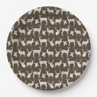 Brown With White Deer Paper Plates 9 Inch Paper Plate