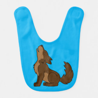 Brown Wolf Pup Howling Bib