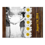 Brown Wood Daisy Chain Photo Save the Date Post Card