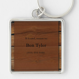 Brown Wood Lost and Found Keychain