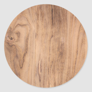 Brown wood pattern classic round sticker