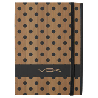 "Brown Wood pPlanks & Black Polkadot Pattern iPad Pro 12.9"" Case"
