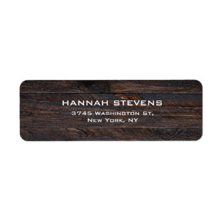 Brown Wood Texture Professional Elegant Modern Return Address Label