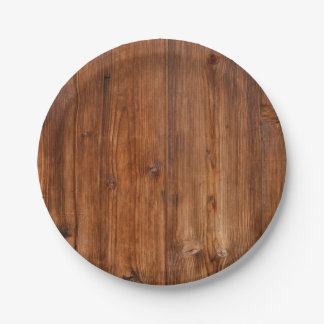 Brown Wood Wall Texture Structure 7 Inch Paper Plate