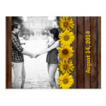 Brown Wood Yellow Sunflower Photo Save the Date