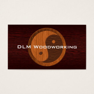 Brown Wood Yin Yang Contractor Business Card