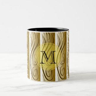 "Brown ""Wooden Art"", monogram Two-Tone Coffee Mug"