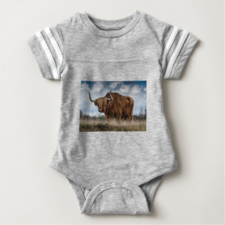Brown Yak on Green and Brown Grass Field Baby Bodysuit