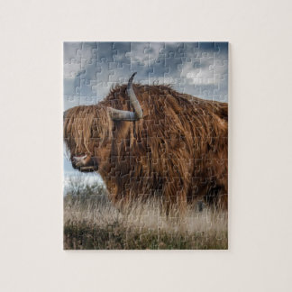 Brown Yak on Green and Brown Grass Field Jigsaw Puzzle