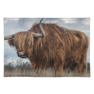 Brown Yak on Green and Brown Grass Field Placemat