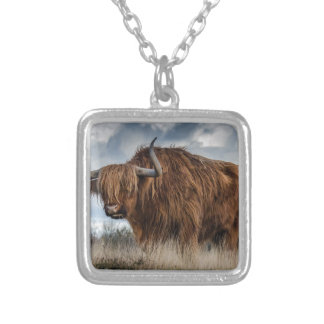 Brown Yak on Green and Brown Grass Field Silver Plated Necklace
