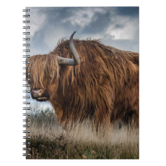 Brown Yak on Green and Brown Grass Field Spiral Notebook