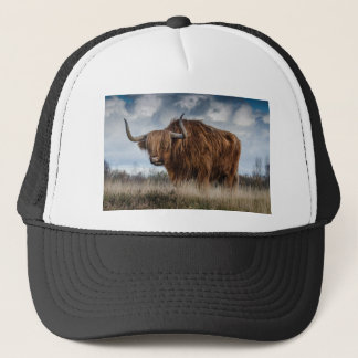 Brown Yak on Green and Brown Grass Field Trucker Hat