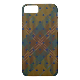 Brown Yellow Blue Rust Navy Pin Dot Tartan Plaid iPhone 8/7 Case