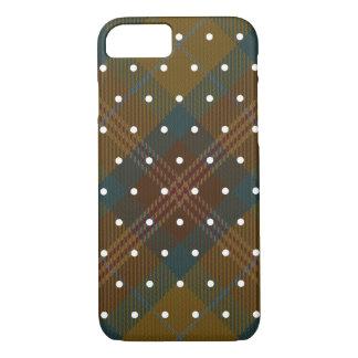 Brown Yellow Blue Rust White Pin Dot Tartan Plaid iPhone 8/7 Case