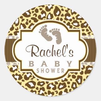 Brown, Yellow Leopard Animal Print Baby Shower Round Sticker