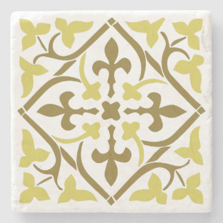 Brown&yellow medieval style ornament Stone Coaster