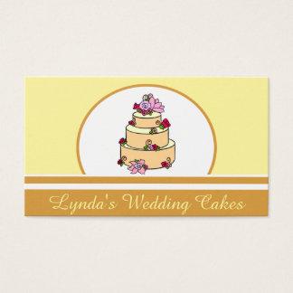 Brown Yellow Wedding Cake Bakery Business Card