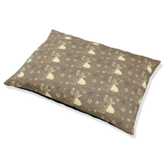 Brown Yorkshire Terrier & Hearts Pet Bed