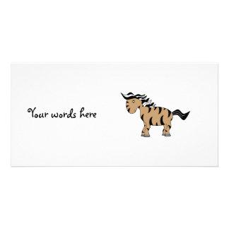 Brown zebra customized photo card
