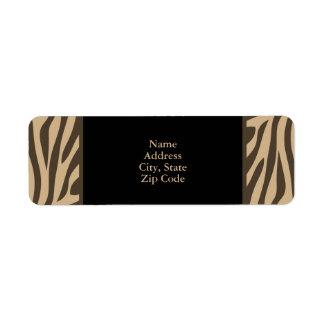 Brown Zebra Print with Black Return Address Label