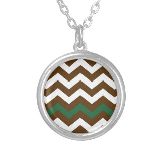 Brown Zigzags With Green Stripe Round Pendant Necklace