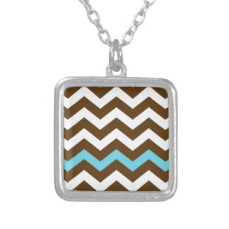 Brown Zigzags With Light Blue Stripe Square Pendant Necklace