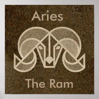 Brown Zodiac Aries, The Ram, Horoscope Poster