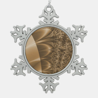 Browned Ivory Trace Fractal Pewter Snowflake Decoration