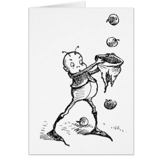Brownie Catching Apples in Hat Card