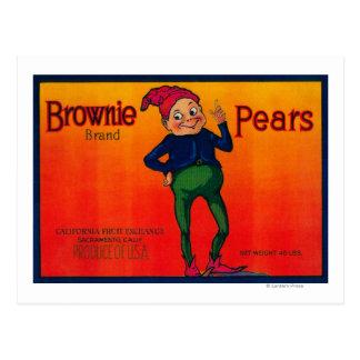 Brownie Pear Crate Label Postcard