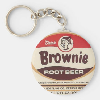 brownie root beer label enlarged keychain