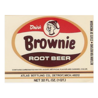 brownie root beer label post card