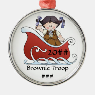 Brownie Scout Sled Black Hair Metal Ornament