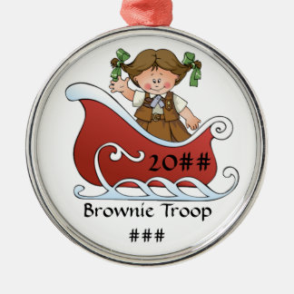 Brownie Scout Sled Brunette Metal Ornament