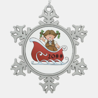 Brownie Scout Sled Brunette Snowflake Pewter Christmas Ornament