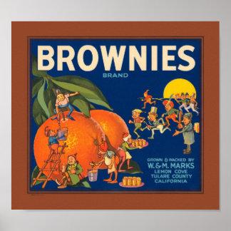 Brownies Brand Vintage Fruit Crate Label Poster