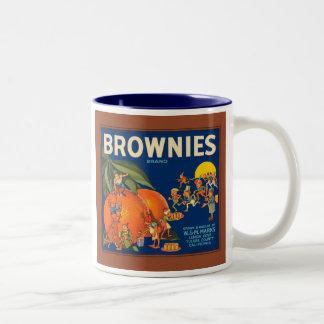 Brownies Brand Vintage Fruit Crate Label Two-Tone Coffee Mug