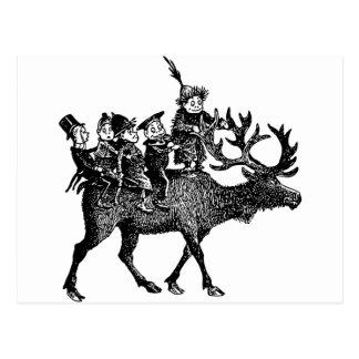 Brownies riding Reindeer Postcard