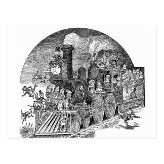 Brownies Riding Steam Locomotive Postcards