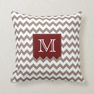 Brownish tan Zig Zag Pattern with deep red box Cushion