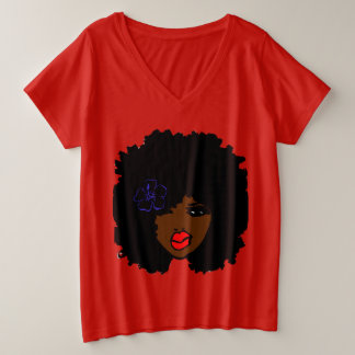 BrownSkin Curly Afro Natural Hair PinkLips Plus Size V-Neck T-Shirt