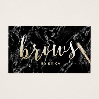 Brows Makeup Artist Gold Script Elegant Marble Business Card