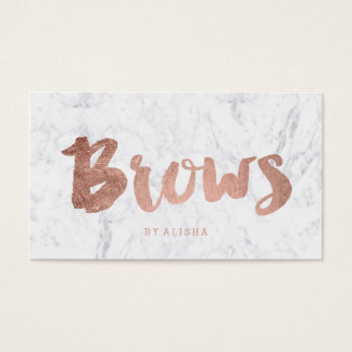 Brows modern faux rose gold typography marble business card