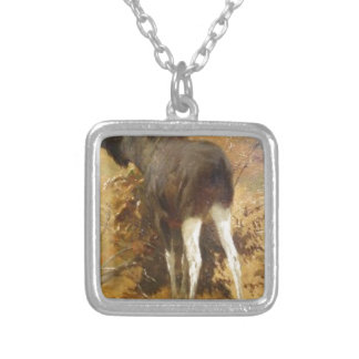 Browsing Moose by Richard Friese Square Pendant Necklace