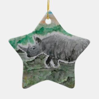 Browsing Rhinos Ceramic Star Decoration