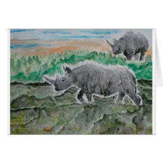 Browsing Rhinos Greeting Card