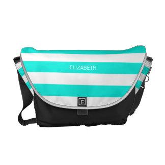 Brt Aqua White Horiz Preppy Stripe #3 Monogram Commuter Bag
