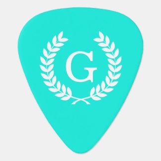 Brt Aqua Wht Wheat Laurel Wreath Initial Monogram Guitar Pick