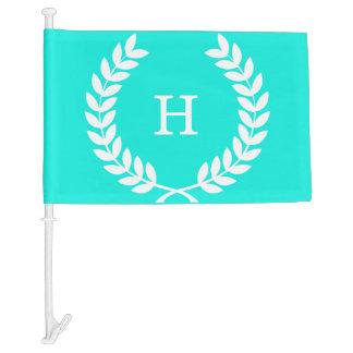 Brt Aqua Wht Wheat Laurel Wreath Initial Monogram Car Flag